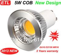 10X New Dimmable 5W GU10 High Power COB LED Spot SMD Warm white/ cold  White Light Led Bulb Lamp AC85V-265V  ETL Approval