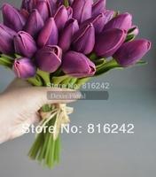 NATURAL/REAL TOUCH FLOWERS Multi Colors White&Pink &Purple Mini Tulip Bridal Posy Bouquet, Tulips  Wedding Bouquet, 24pcs/lot