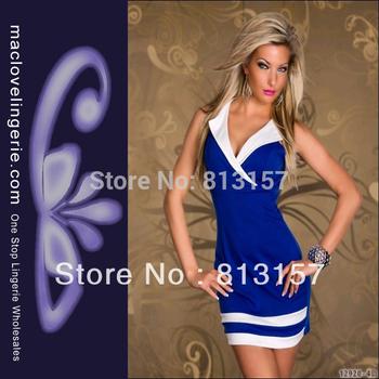 Sexy Fashion New 2014 ML17680 Blue +White Free Shipping V Neck Dress Women Cheaper Price Clubwear Short Cotton Dress Mini Dress