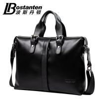 """Bostanten new business fashion design Guarantee Genuine leather men handbag shoulder bag for 14"""" laptop"""