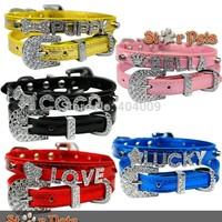 Rhinestones Diamond Buckle Personalized Pet Dog Collar Free Name& Charm   XS S M L