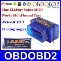 2014 SUPER MINI ELM327 Bluetooth OBD2 Interface V2.1 Support All OBDII Protocol With Android Torque Multi-Language CNP Free