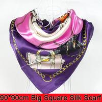 Free Shipping Silk Scarf Wraps,2014 Europe Style Design Satin Big Square Scarf Printed,New Brand Women Blue Silk Scarf  90*90cm
