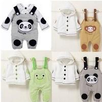 Hot Sale!Retail,1set!Baby girls boys clothing set,2Pcs/set:Jacket+suspender trousers with 3animal styles:panda,frog,monkey