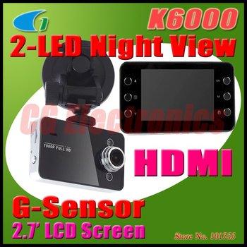 """100% оригинал K6000 новатэк чипсет 1080 P автомобильный видеорегистратор 2.7 """" жк-рекордер видео приборная панель автомобиля ж / g-сенсор"""