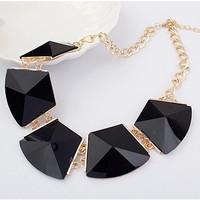 Black Resin Geometric Gem Gold Shorts Collar Choker Statement Necklaces & Pendants 2014 New Fashion Jewelry Women Wholesale N50