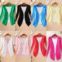 BEST SELL! Women Lace Sweet Candy Color Crochet Knit Blouse Sweater Cardigan Seasonal discounts blusas femininas