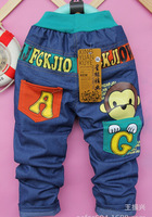 2013 New Winter Autumn Spring  Kids Boy Girls Baby Dot Letter Print Little Girl Pink/Orange/Green Fleece Warm Cotton Denim Jeans
