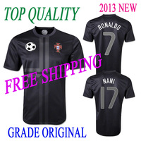 Ronaldo 7 TOP A+++  FREE SHIPPING  Grade ORIGINAL thailand quality soccer jerseys football jersey  2013 Portugal Away