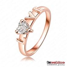Eternity 18K Rose Gold Plate Austrian Crystal Love Ring Letter Ring 22*6mm Ri-HGC0031