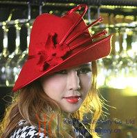 Free Shipping High Quality  Hot Sale Fashion Women Wool Felt Hat Winter Hat Millinery Top Wool Fabric Handmade