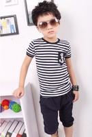 2014 new fashion 2pcs set children clothing set striped t-shirt with pants boy suits set cotton suit BDT-184