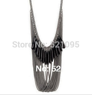 Min.Order Is $10 Can Mix Orders!  Black Multi-Layered Fringes Long Necklace Sweater Chain For Fashion Girl And Women