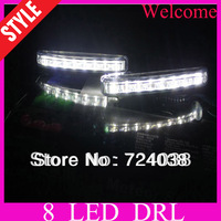 Wholesale discount Just me E4 New 2PCS  Super White 8 LED Universal Car Light Daytime Running lights auto fog lights lamp DRL