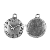 Closeout Alloy Pendants,  Lead Free and Nickel Free,  Flat Round/Clock,  Antique Silver,  17x13x3mm,  Hole: 2mm