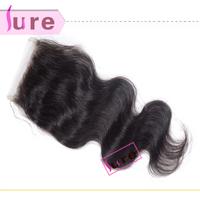 1or 2 pieces Brazilian/Peruvian virgin human hair body wave cheap lace closure ,bleached knots hair closures