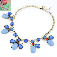 Hot sale bubble statement necklace bright gem bee collar necklaces & pendants with rhinestone dress accessories for women