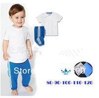 Free shipping 2013 summer children's set 5set/lot girls and boy set cotton sets short sleeve t-shirt+pants suit
