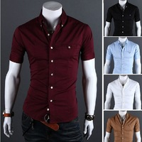 Free Shipping 2013 spring and summer Slim solid color metal buckle men's  shirt  US Size:XS,S,M,L 8706