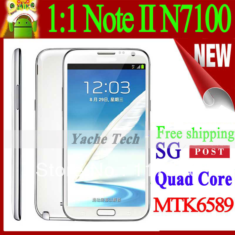 "Unlocked Cell Phone 1:1 Galaxy Note II N7100 In Store Real Quad Core Android 4.2 5.5"" Screen 1280*720 MTK6589 1g Ram 4g Rom(China (Mainland))"