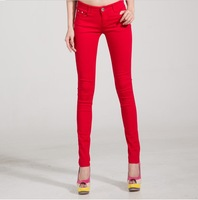 Free Shipping 2013 new Autumn Winter candy colored slim fit pencil jeans for female WKP004