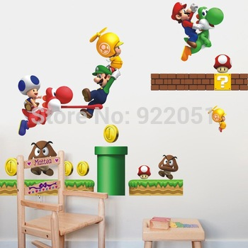 Super Mario bros Boy Room Kids Room Nursery Art Decal Mural Removable Wall Sticker Deco sticker on the wall AY621