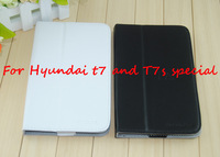Free Shipping and Wholesale Folio PU Leather Stand Case for hyundai T7 / T7S White Black