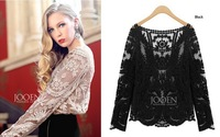 Blusas Femininas 2014 Women Blouses Lace Blouse Crochet Lace Top Lady Blusa De Renda Hollow Out Lace Shirts Sheer Floral 866