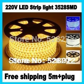 220V 3528 LED strip light 5m+plug,White/Warm white/Red/Green/Bule,60LED/m,led tape waterproof IP67 lights&lighting(China (Mainland))