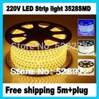 220V 3528 LED strip light 5m+plug,White/Warm white/Red/Green/Bule,60LED/m,led tape waterproof IP67 lights&lighting