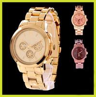 2013 Hot!!! Luxury Famous Brand Gold Rose Gold Quartz Steel Business Bracelet Wrist Watch for Women Man with LOGO