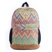 Ladies Girls Floral Nationality Canvas Backpack School Bag Schoolbag Travel Backpack Vintage 8 Colors