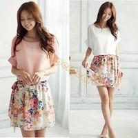 New Fashion Summer Casual Women's Charming Crewneck Chiffon Short Sleeve Floral Dress 14510 F
