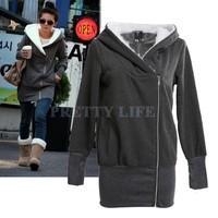 2014 Korea Fashion Women Hoodies Coat Warm Zip Up Outerwear Sweatshirts 5 Colors free shipping b6 3269