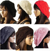 2013 New Handmade Fashion Warm Winter Women's Beret Kintted Hat 7 Colors Red Pink Beige Brown Black Gray White 35741