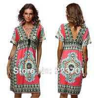 2013 Fashion Plus Size Hot  Vintage Paisley Print V Neck Hippie Boho Summer Dress Beach 4178