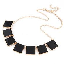 Green Choker Necklaces Pendants Fashion Vintage Gold Chains Square Enamel Bib Statement Choker Collar Necklace Costume