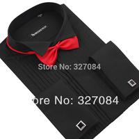 2015 Wedding blouse Mens tuxedo shirts bow tie free Slim fit Classic black Long sleeve High quality big size 4xl Free shipping
