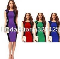 New 2014 Fashion Summer Dress Women,Vintage Patchwork Tank Bandage Pencil Dresses, Plus Size Knee-length Women Clothing