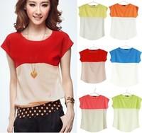 Basic Shirt For Women 2013 Fashion Summer Short Sleeve Sexy Slim Fit Chiffon Blouse Of All Match Korean Sailor Style