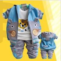 Retail 1set 2014 spring Autumn boys 3pcs clothing sets Hooded jacket + t-shirt + pants children sports suit kids sets HD4004