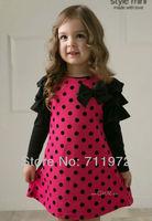 2013 New Spring Baby Girls Dress Children cute Dot long sleeve 2 colors Dot dresses 1pcs sale