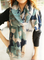 Free Shipping !2014! Europe the latest Graffiti Ink Flowers Gradient Authentic Voile Women Scarves Shawl,L-803A