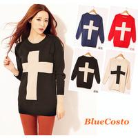 HOT New 2014 Fashion Women Sweater Cross Pattern Long Sleeve Knitted Sweater Women Crew Neck Pullover Casual Women Tops