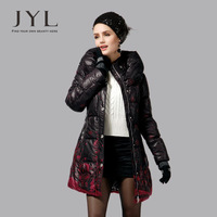 JYL snow pattern printed bottom women winter coats,90% duck down and feather filling women winter clothing jacket parka 2014