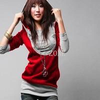 2013 Korea Women's Sweatershirts Fashion Long Sleeve Shirt Cotton Tops Hoodies Coat Outerwear Black&Gray 2312