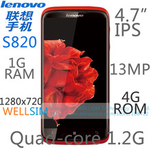 Original Lenovo S820 Multi language Mobile phone 4.7IPS 1280x720 MTK6589 Quadcore1.2G 1GRAM 4GROM  Android4.2 13MP(China (Mainland))