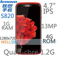 Original Lenovo S820 Multi language Mobile phone 4.7IPS 1280x720 MTK6589 Quadcore1.2G 1GRAM 4GROM  Android4.2 13MP