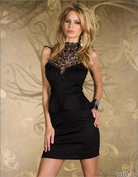 High Street vestido de festa Black Rare embroidery High Neck elegant Peplum Dresses for summer  2015 cocktail party dress LC2936
