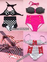 2014 New RETRO Women Swimwear Vintage Push Up Bandeau HIGH WAISTED Bikini Set S/M/L/XL